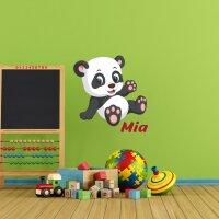 Aufkleber Kinderzimmer Pandabär  mit Namen