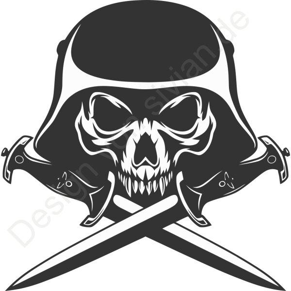 Totenkopf Aufkleber, Autoaufkleber Skull mit Helm und Dolch  40 cm
