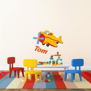 Aufkleber Flugzeug Kinderzimmer mit Wunschname