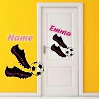 Aufkleber Fußballschuhe mit Wunschname
