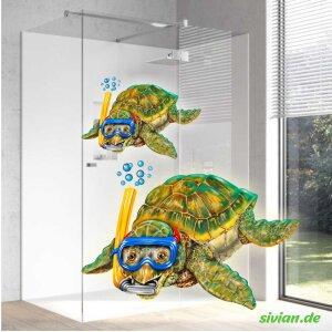 Lustige Schildkröte Badezimmer Aufkleber