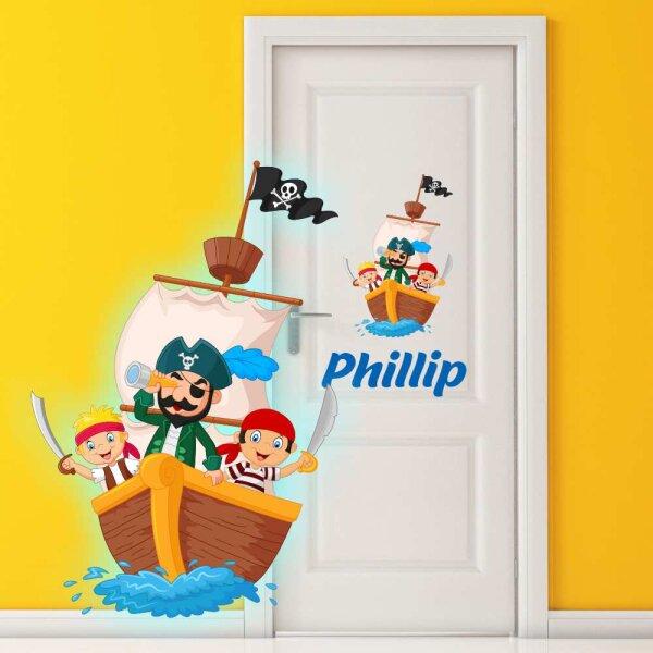 Aufkleber Kinderzimmer Pirat  Piratenschiff