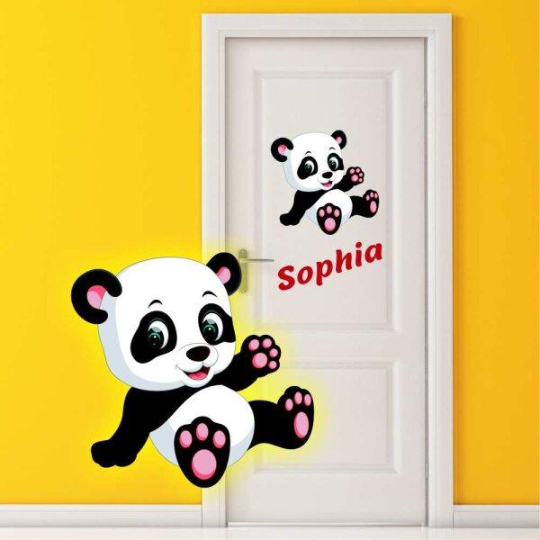 Aufkleber Pandabär mit Wunschname