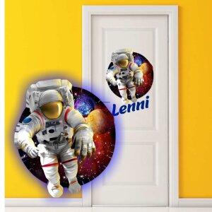 Aufkleber Astronaut Kinderzimmer mit Wunschname...