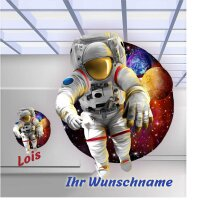 Aufkleber Astronaut Kinderzimmer mit Wunschname Türaufkleber