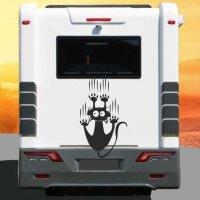 Aufkleber Wohnmobil rutschende Katze