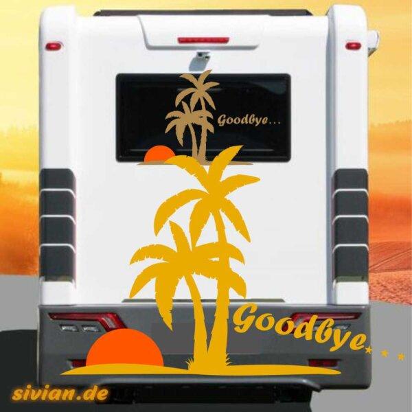 Aufkleber Palme Goodbye Wohnmobil