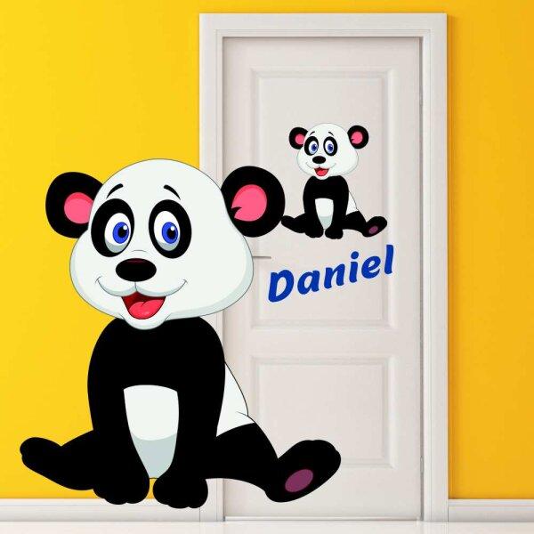 Aufkleber Pandabär mit Name