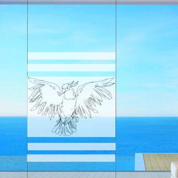 Fenster Sichtschutz Papagei Milchglasfolie