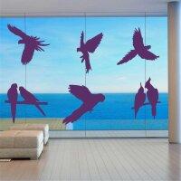 Fenster Aufkleber Fensterbild Vögel Warnvögel Papageien Vogel Wintergarten