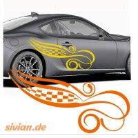 Autoaufkleber Seiten Dekor Racing Rennflagge Ranke